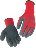 Lot de 10 Paires Gants polyamide rouge enduction latex gris